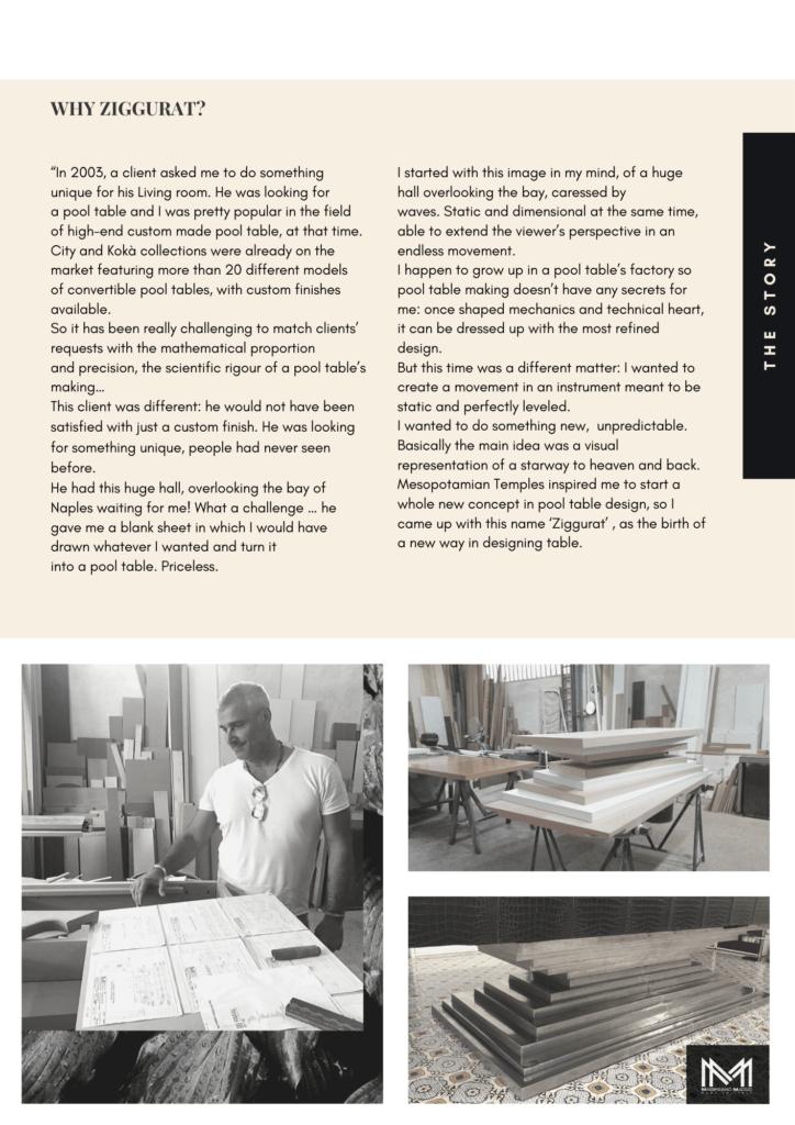 3 In Design Interview Birth of an Icon Ziggurat the Original Massimiliano Maggio Luxury pool Table Made In Italy