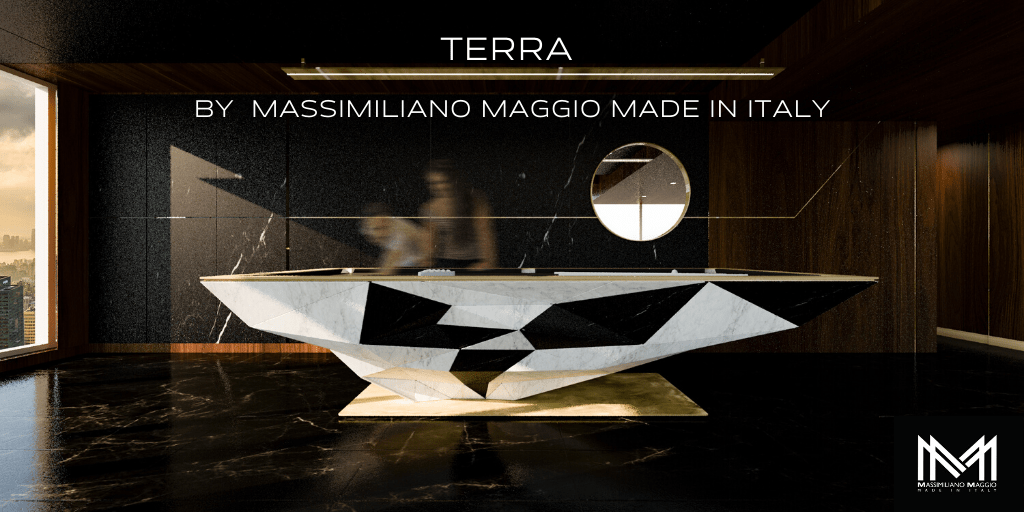 GALLERY 1 TERRA by Massimiliano maggio Made in Italy whitemarble blacklacquered